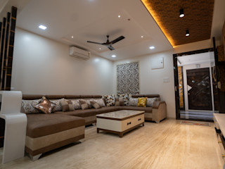 Nabh Design & Associates Salas de estar modernas Mármore Castanho