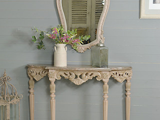 Large Ornate Antique Portuguese Console Table & Mirror in Blush Pink The Treasure Trove Shabby Chic & Vintage Furniture Corridor, hallway & stairsAccessories & decoration Pink