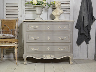 Large Vintage French Shabby Chic Chest of Drawers (Grey) The Treasure Trove Shabby Chic & Vintage Furniture BedroomBedside tables Wood Grey