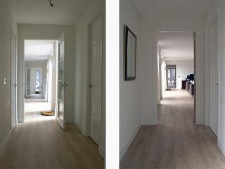 Studio FLORIS Modern Corridor, Hallway and Staircase Solid Wood White