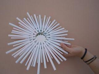 Specchio decorativo con cannucce Coffee DIY and PC CasaAccessori & Decorazioni Plastica Bianco