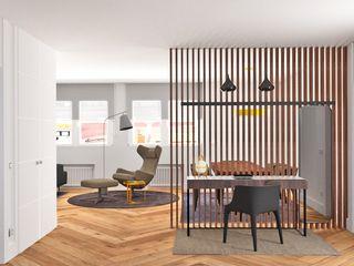 Reforma, decoración y amueblamiento de un piso de 260 metros cuadrados en el centro de Gijón arQmonia estudio, Arquitectos de interior, Asturias Pasillos, vestíbulos y escaleras de estilo minimalista
