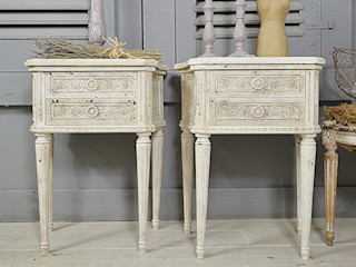 Pair of Heavily Aged & Distressed Vintage French Louis XVI Bedside Tables (White) The Treasure Trove Shabby Chic & Vintage Furniture BedroomBedside tables Wood White