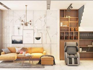 Thiết Kế Nội Thất Nhà Phố Hiện Đại 3 Phòng Ngủ - Chị Trinh Quận Gò Vấp Công ty Cổ Phần Nội Thất Mạnh Hệ Phòng khách Gạch Pink