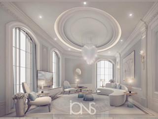 Home Interior Design in Parisian Style IONS DESIGN Living room Marble Grey