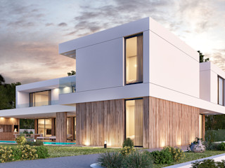 CASA RP1 - Moradia em Oeiras - Projeto de Arquitetura Traçado Regulador. Lda Moradias Madeira Branco