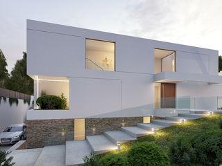 CASA I&J - Moradia em Oeiras - Projeto de Arquitetura Traçado Regulador. Lda Moradias Pedra Branco