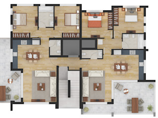 Residential 2D Floor Plan Rendering Services JMSD Consultant - 3D Architectural Visualization Studio Interior landscaping Wood Brown