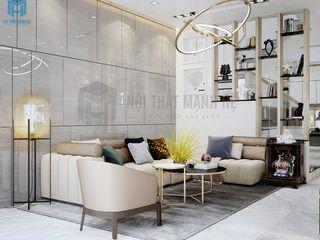 THIẾT KẾ NỘI THẤT NHÀ PHỐ 3 PHÒNG NGỦ - ANH HUY, PHƯỜNG TRƯỜNG THỌ, QUẬN THỦ ĐỨC Công ty Cổ Phần Nội Thất Mạnh Hệ Phòng khách Gỗ thiết kế Pink