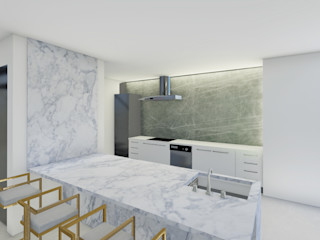 Barreres del Mundo Architects. Arquitectos e interioristas en Valencia. Einbauküche Marmor Weiß