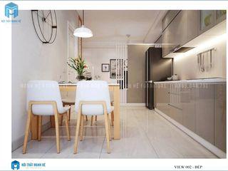 Thiết kế nội thất trọn gói căn hộ cao cấp chung cư Belleza - 75m2 (chị Hương - quận 7) Công ty Cổ Phần Nội Thất Mạnh Hệ Nhà bếp phong cách hiện đại Gỗ