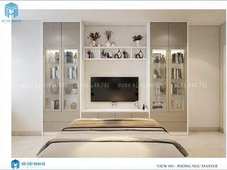Thiết kế nội thất trọn gói căn hộ cao cấp chung cư Belleza - 75m2 (chị Hương - quận 7) Công ty Cổ Phần Nội Thất Mạnh Hệ Phòng ngủ phong cách hiện đại Gỗ