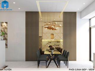 Thiết kế nội thất trọn gói nhà phố 3 thế hệ - 3 phòng ngủ (Anh Tuyền - Q.12) Công ty Cổ Phần Nội Thất Mạnh Hệ Phòng ăn phong cách hiện đại