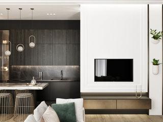таунхаус ЖК Apartville Y.F.architects Гостиная в стиле минимализм