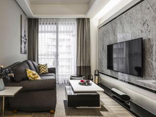 2房打造高機能 精緻收納美式新古典小宅 你你空間設計 客廳 大理石 Grey