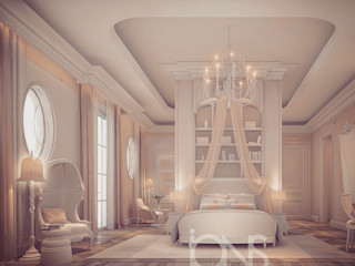 Bedroom Interior Design in Light Coral Theme IONS DESIGN Classic style bedroom Wood Beige