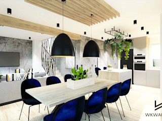 Wkwadrat Architekt Wnętrz Toruń Scandinavian style dining room Concrete Black