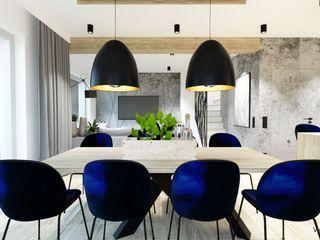 Wkwadrat Architekt Wnętrz Toruń Scandinavian style dining room Wood Blue