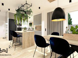 Wkwadrat Architekt Wnętrz Toruń Built-in kitchens Wood Blue