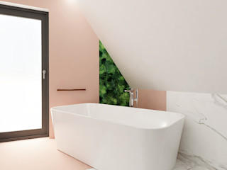 Wkwadrat Architekt Wnętrz Toruń Minimalist bathroom Marble Pink
