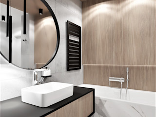 Wkwadrat Architekt Wnętrz Toruń Modern bathroom Marble Wood effect