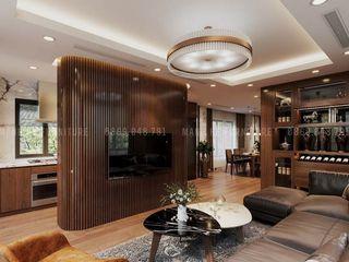Thiết kế nội thất chung cư The Legacy 115 m2 3 phòng ngủ - anh Quý, Hà Nội Công ty Cổ Phần Nội Thất Mạnh Hệ Phòng khách Gỗ thiết kế Wood effect