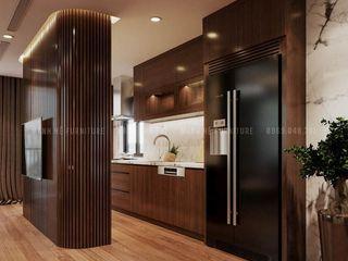 Thiết kế nội thất chung cư The Legacy 115 m2 3 phòng ngủ - anh Quý, Hà Nội Công ty Cổ Phần Nội Thất Mạnh Hệ Tủ bếp Gỗ thiết kế Wood effect