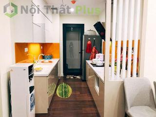 Thiết kế tủ bếp nhỏ gọn cho căn hộ của chị Linh ở IMPerial Garden Hà Nội Công ty thiết kế thi công nội thất - NỘI THẤT PLUS Cave à vin Bambou Bleu