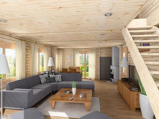 THULE Blockhaus GmbH - Ihr Fertigbausatz für ein Holzhaus Rustic style living room Wood Brown