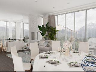 Компания архитекторов Латышевых 'Мечты сбываются' Salas de jantar minimalistas