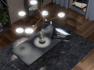 Design di interno appartamento con giardino in vaso al centro del tavolo Alessandro Chessa Sala da pranzo moderna