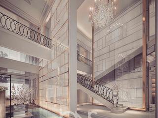 Villa Design – Entrance Lobby and Foyer Interior Design Ideas IONS DESIGN Mediterranean corridor, hallway & stairs Stone Multicolored