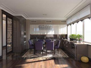 """Проект студии """"Ар-деко по-американски"""" Технологии дизайна Кухни в эклектичном стиле Коричневый"""