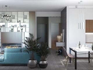 Квартиры студии Технологии дизайна Гостиная в скандинавском стиле Белый