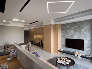 異材質揉合 有個性、品味的現代好宅 昱承室內裝修設計 现代客厅設計點子、靈感 & 圖片