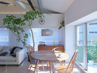 studio m+ by masato fujii Sala da pranzo in stile scandinavo