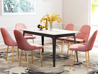 Vacation property rental project in San Diego Vivible Dining roomChairs & benches Textile Pink