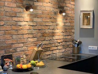 Historische Küchenrückwände aus antiken Ziegeln Antik-Stein Esszimmer im Landhausstil Ziegel Rot