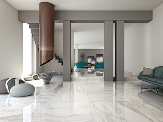 Tuscania S.p.A. Ruang Keluarga Modern Ubin