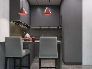 GM-interior Cuisine minimaliste Gris