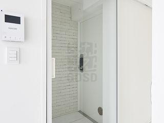 주식회사 착한공간연구소 Pasillos, vestíbulos y escaleras de estilo minimalista Blanco