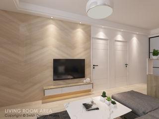 Swish Design Works Salon moderne Contreplaqué Effet bois