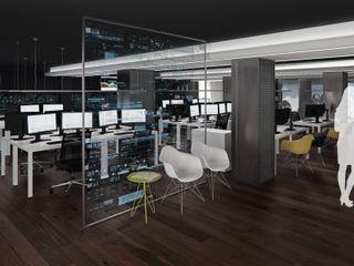 Estudio de Interiorismo para Oficinas Tecnológicas Tono Lledó Estudio de Interiorismo en Alicante Oficinas y tiendas de estilo moderno Vidrio Negro