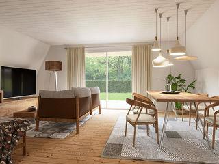 Casa - interno – Svizzera KRISZTINA HAROSI - ARCHITECTURAL RENDERING Soggiorno moderno Legno