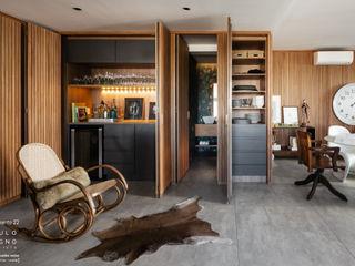 Saulo Magno Arquiteto Minimalist dining room Wood Grey