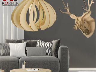 kornikdesign Living roomLighting Plywood Wood effect