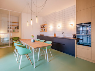 ÈMCÉ interior architecture KitchenCabinets & shelves Tiles Black