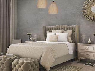 Bedroom's inspiration decorated by lighting from LuxuryChandelier.co.uk Luxury Chandelier LTD Kleines Schlafzimmer Sandstein Grau