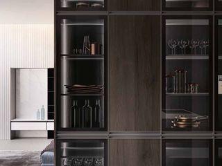 Zona giorno, cucina e living moderno con ante a telaio in alluminio titanio Meka Arredamenti Cucina attrezzata