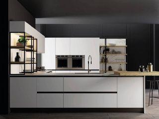 Cucina con penisola total white bianco opaco e rovere biondo Meka Arredamenti Cucina attrezzata